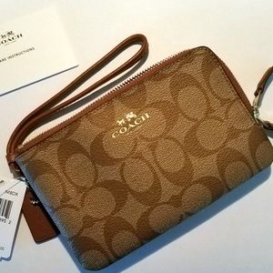 Coach F66506 PVC Leather Double Zip Wristlet